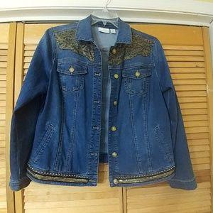CHICO'S Embellished Denim Jean Jacket 2 L 12-14